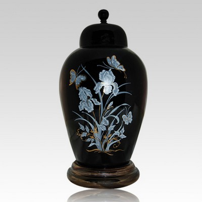 Iris black ceramic cremation urn