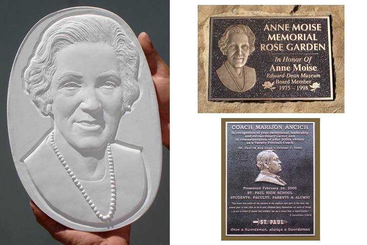 Memorial rock with bronze relief plaque