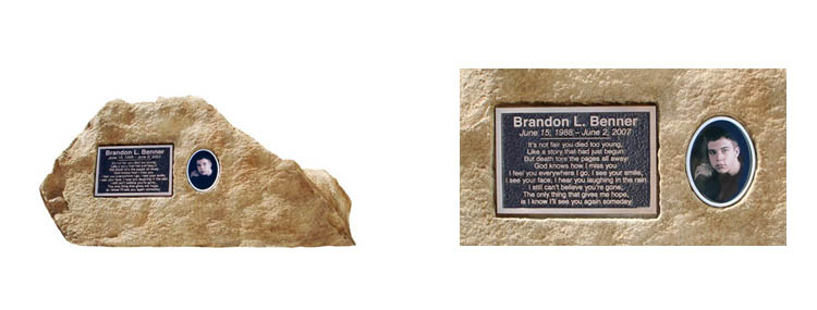 Memorial rock with ceramic and bronze plates