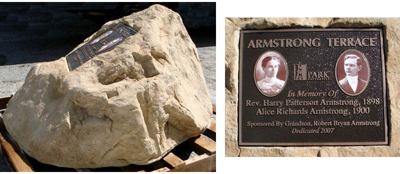 The memorial rocks are carefully transported