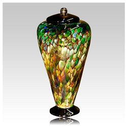 Glass urns feature vibrant colors and designs unseen in other mediums