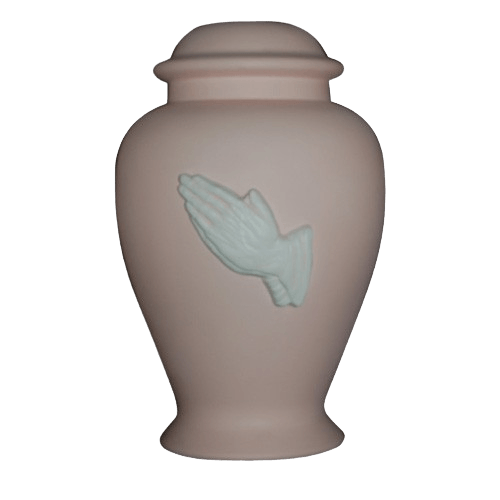 Praying Hands Pink Cremation Urn