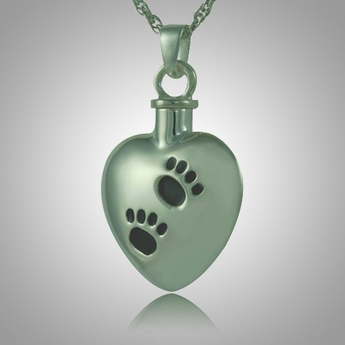 Black Pet Paw Print Heart Cremation Jewelry