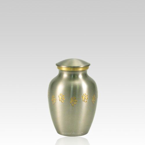 Classic Paw Print Petite Pewter Urn