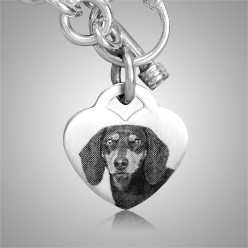 Pet Heart Photo Cremation Bracelet