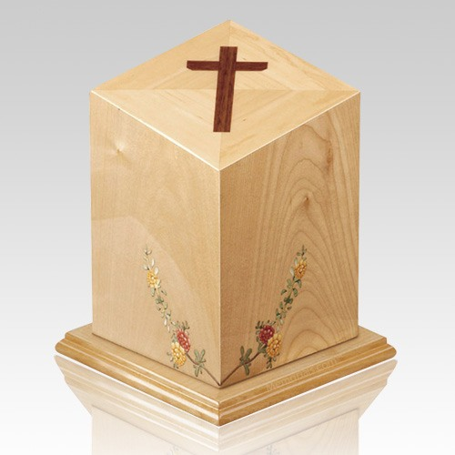 Forever Cross Wood Cremation Urn