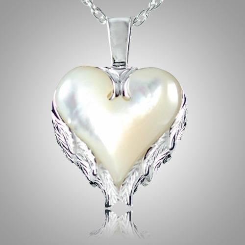 Angel Wings Heart Keepsake Pendant