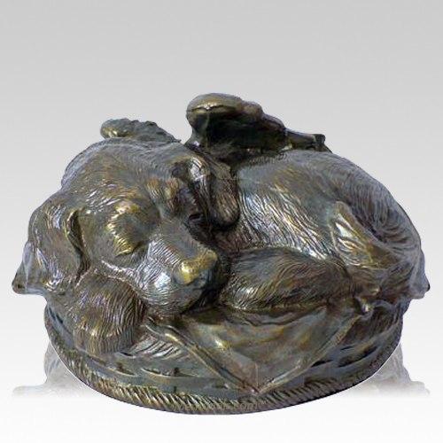 Angel Dog Cremation Urn Antique Bronze