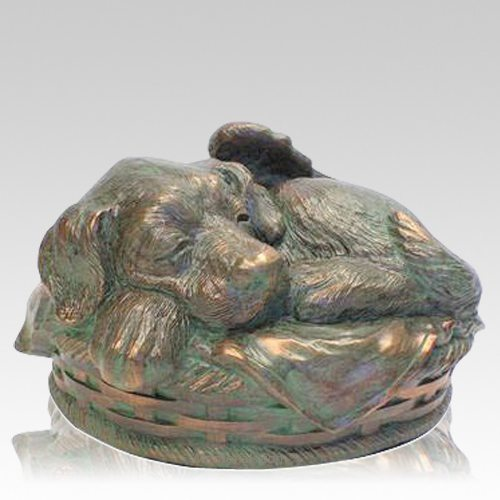 Angel Dog Cremation Urn Bronze Patina