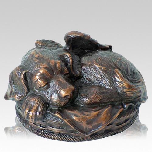 Angel Dog Cremation Urn Copper