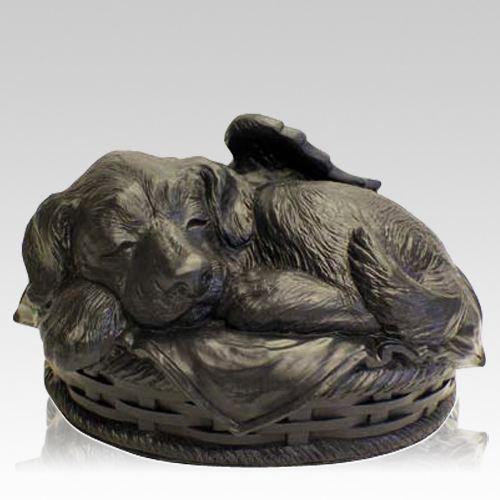 Angel Dog Large Cremation Urn Black