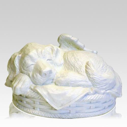 Angel Dog Large Cremation Urn White