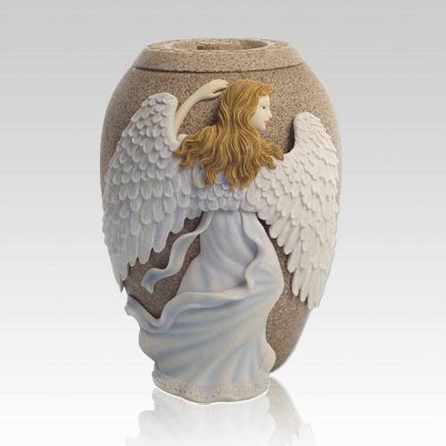 Angels Embrace Blue Cremation Urn