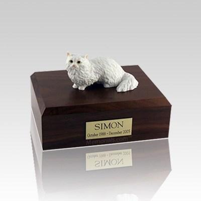 Angora White Small Cat Cremation Urn