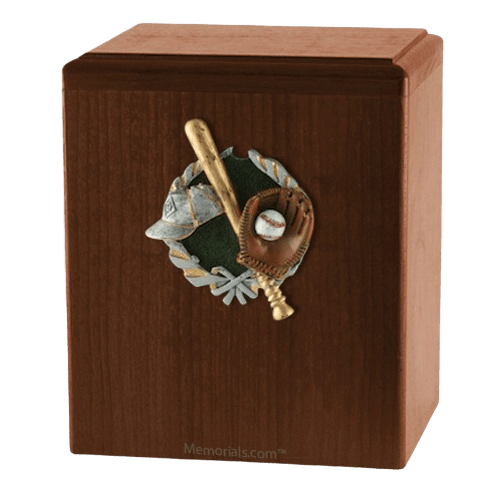 Base Ball Walnut Cremation Urn