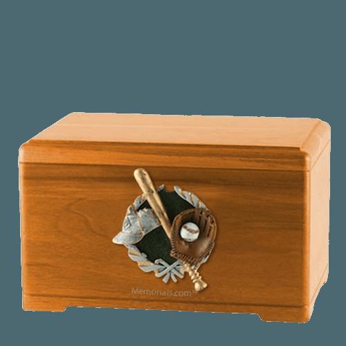 Baseball Fan Oak Cremation Urn
