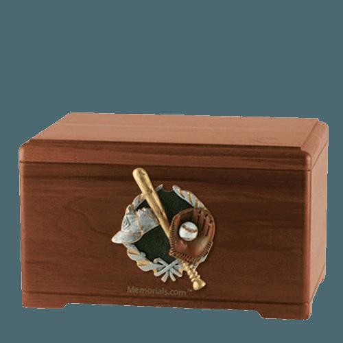 Baseball Fan Walnut Cremation Urn