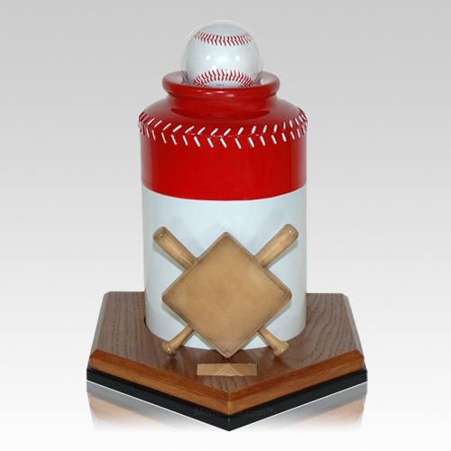 Baseball Red Cremation Urn
