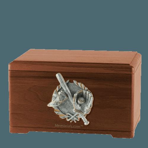 Baseball Tribute Walnut Cremation Urn