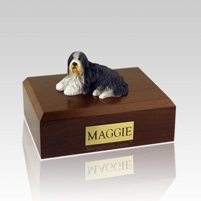 Bearded Collie Laying Dog Urns