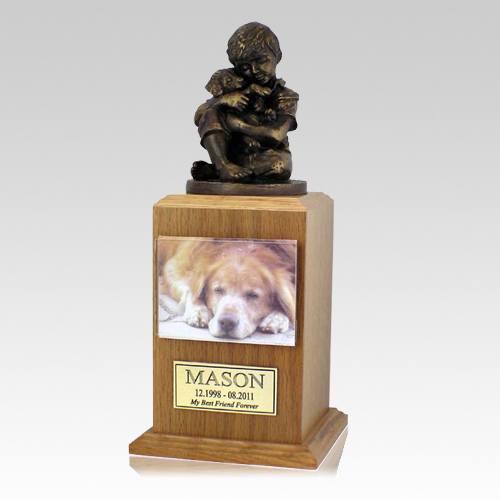 Best Friend Dog Oak Cremation Urn