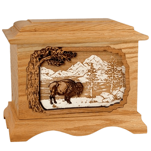 Bison Oak Cremation Urn