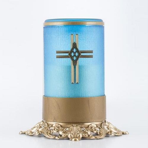 Blue Cross Ornate Memorial Candle