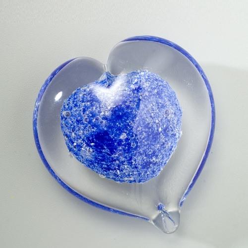 Blue Heart Glass Cremation Keepsakes