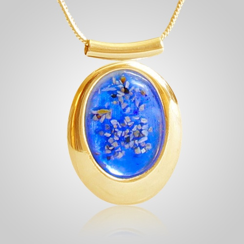 Blue oval cremation ash pendant iv mozeypictures Image collections