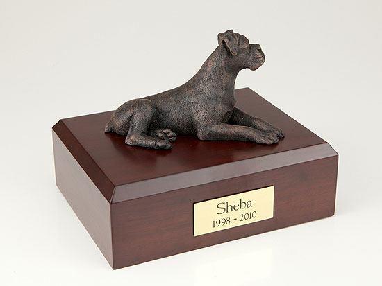 Boxer Bronze Ears Down Dog Urns
