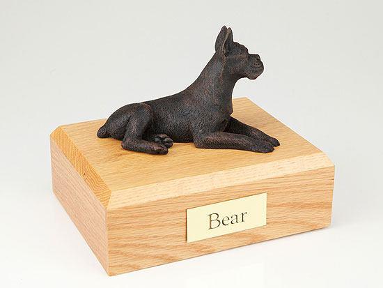 Boxer Bronze Ears Up Dog Urns