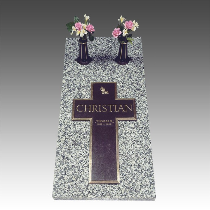 Bronze Cross Ledger Companion Grave Marker
