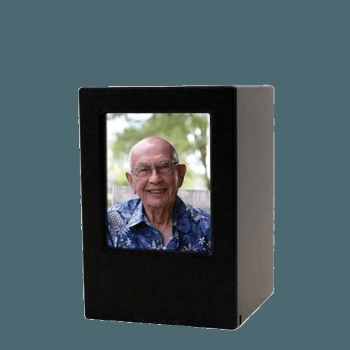 Black Eternity Small Photo Wood Urn