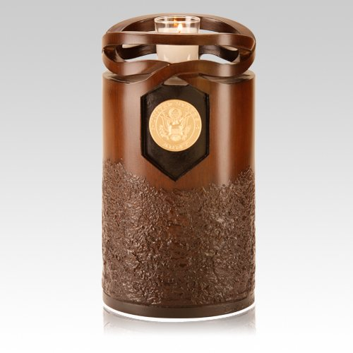 Infinity Wood Army Cremation Urn