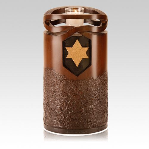 Infinity Wood Jewish Star Cremation Urn