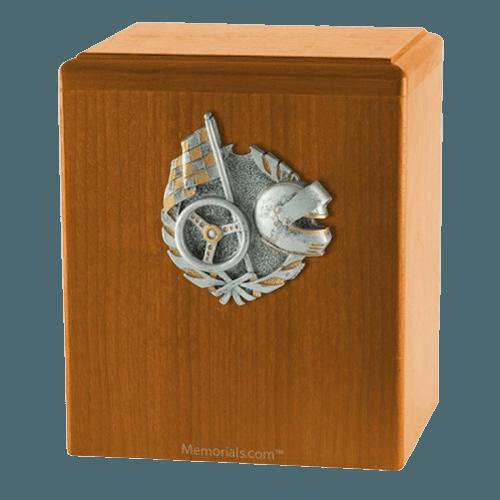 Car Racing Oak Cremation Urn