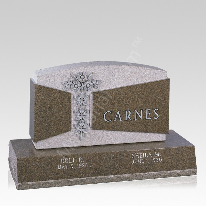 Carved Flowers Grave Headstone
