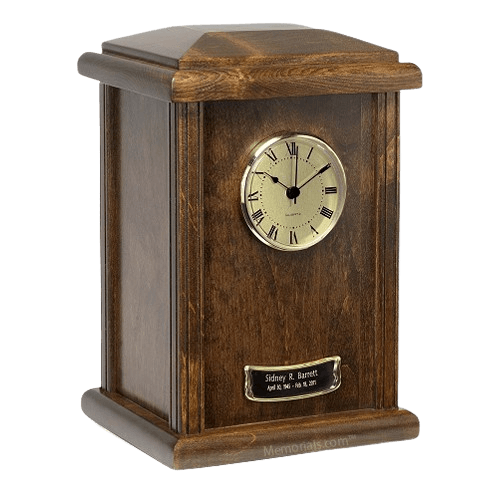Chestnut Clock Cremation Urn
