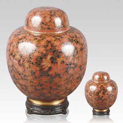Oriental Red Cloisonne Cremation Urns