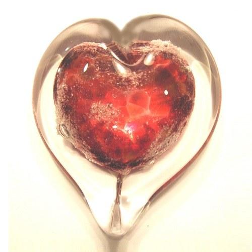Crimson Heart Glass Cremation Keepsakes