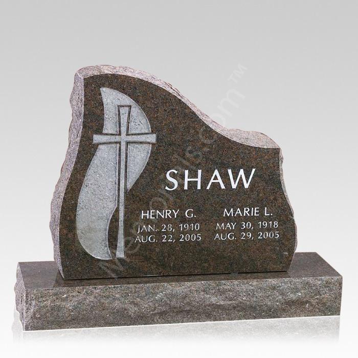 Cross Companion Granite Headstone