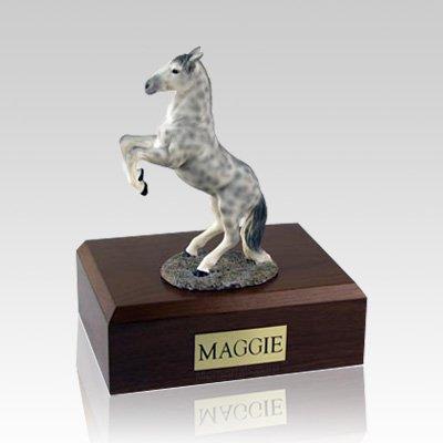 Dapple Gray Rearing Large Horse Cremation Urn