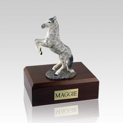 Dapple Gray Rearing Medium Horse Cremation Urn
