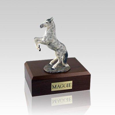 Dapple Gray Rearing Small Horse Cremation Urn