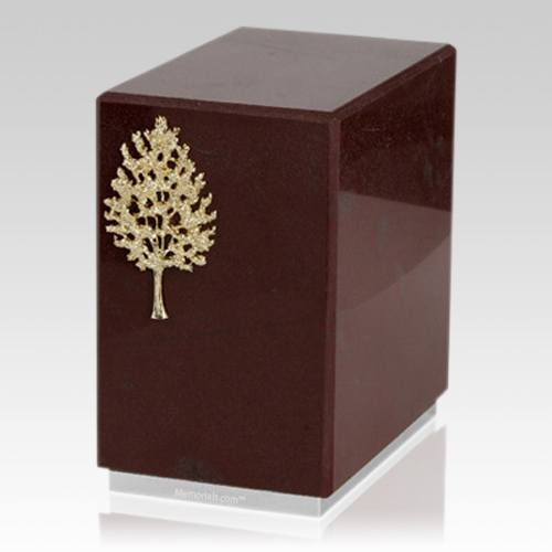 Dignity Silver Rosso Laguna Marble Urn