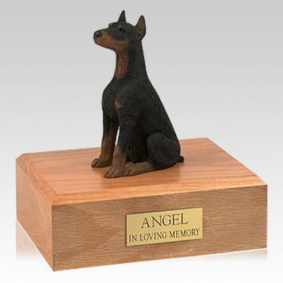 Doberman Black Ears Up Sitting Dog Urns