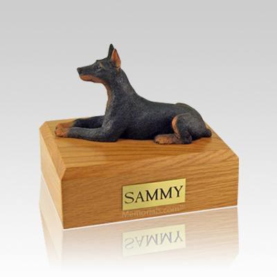 Doberman Black Laying Medium Dog Urn