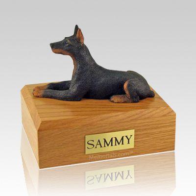 Doberman Black Laying Dog Urns