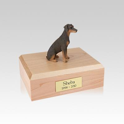 Doberman Red Ears Down Sitting Small Dog Urn