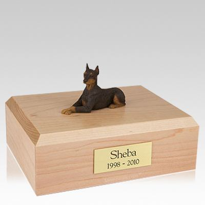 Doberman Red Ears Up Laying Dog Urns